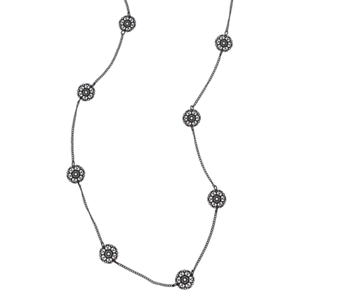 Dainty Filigree Necklace Black