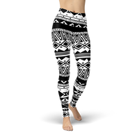 Bohemian Black and White Leggings - Cranberry Fashion