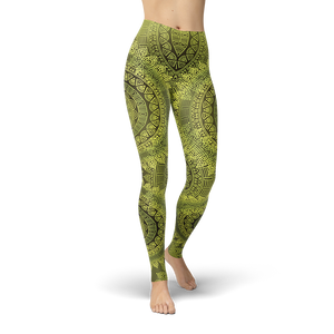 Bohemian Ethnic Greenish Style Leggings - Cranberry Fashion