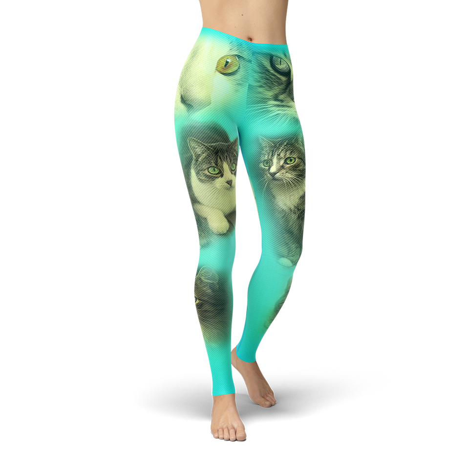 Turquoise Cat Leggings - Cranberry Fashion