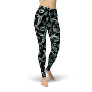 Sea Creatures BB Leggings - Cranberry Fashion