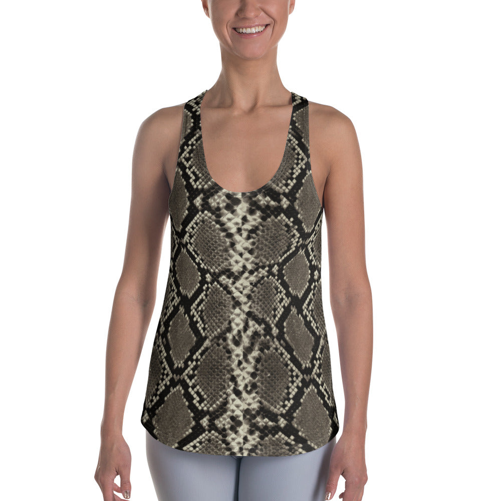 Rattle Snake Skin Racerback Tank - Cranberry Fashion
