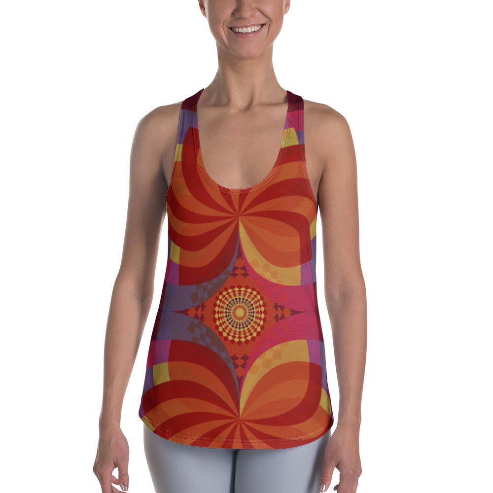 Kaleidoscope Racerback Tank - Cranberry Fashion