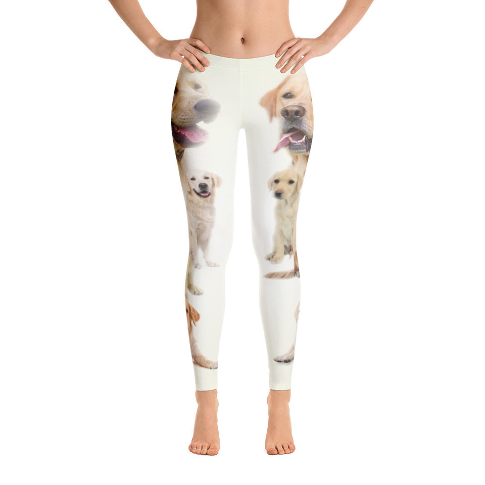 White Dog Leggings - Cranberry Fashion