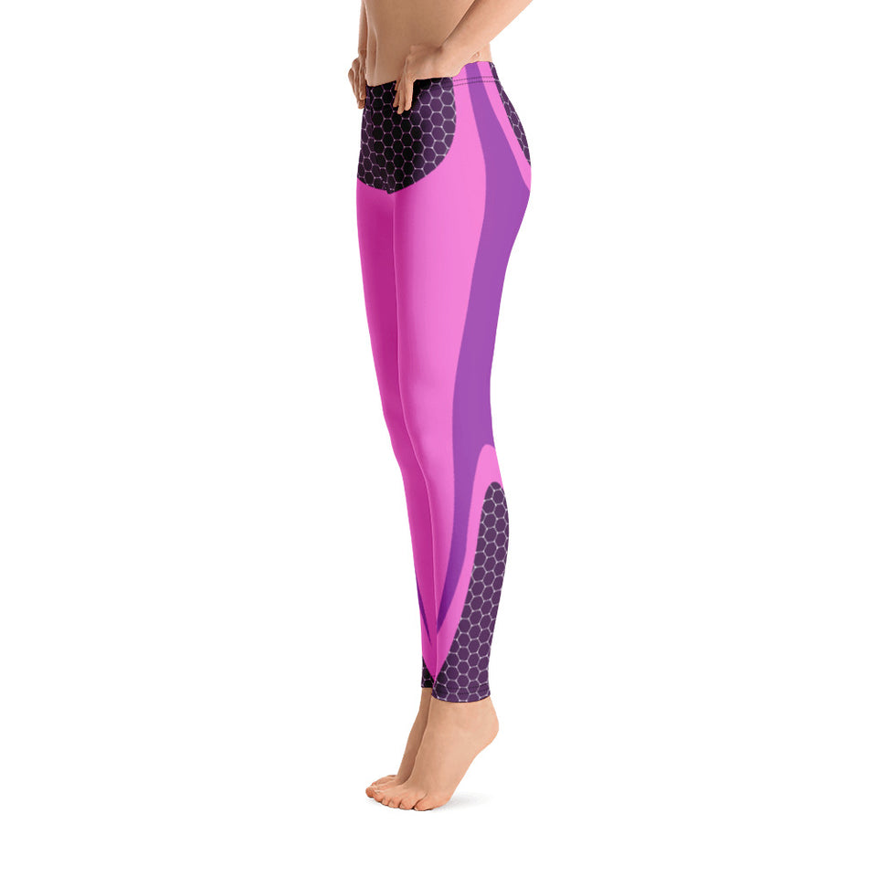 Honeycomb Pink and Purple Leggings - Cranberry Fashion