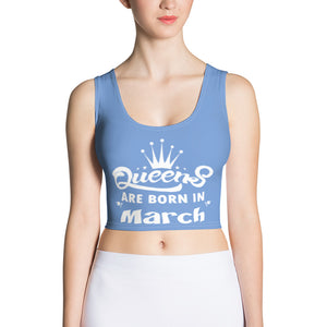 Queens born in March Blue Crop Top - Cranberry Fashion