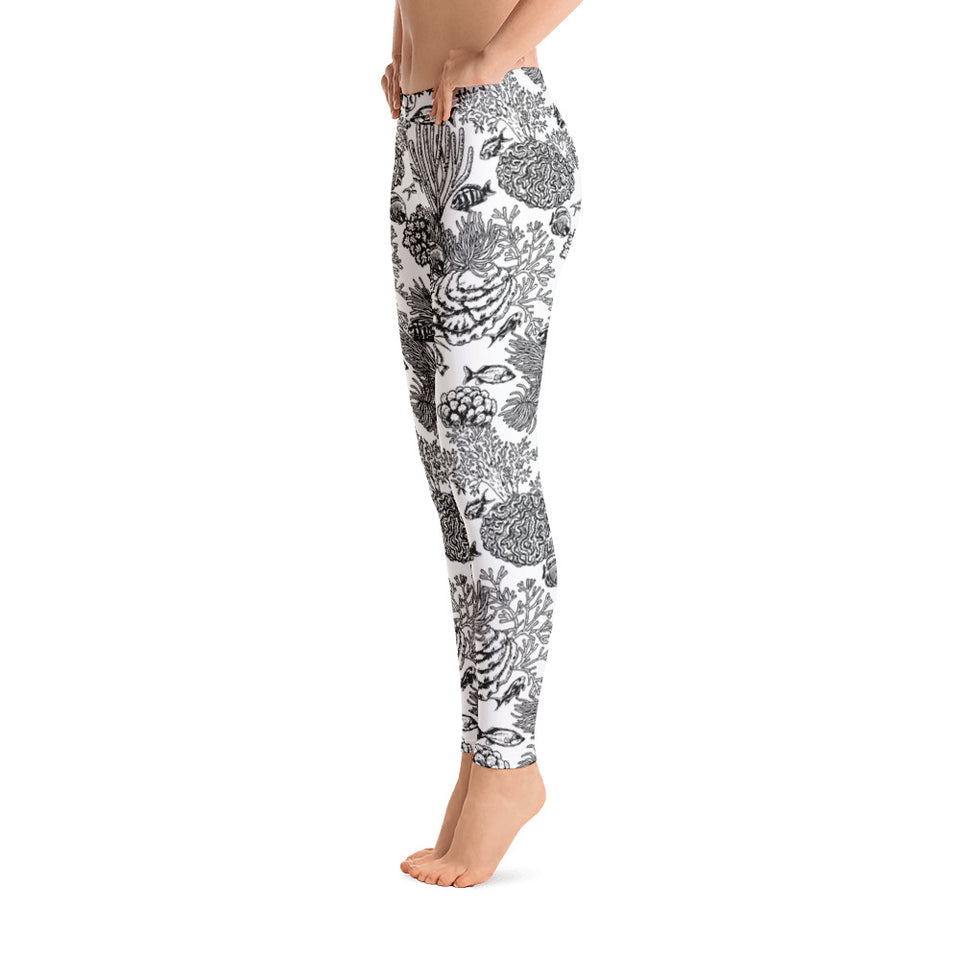 Sea Reef Creatures BW Leggings - Cranberry Fashion