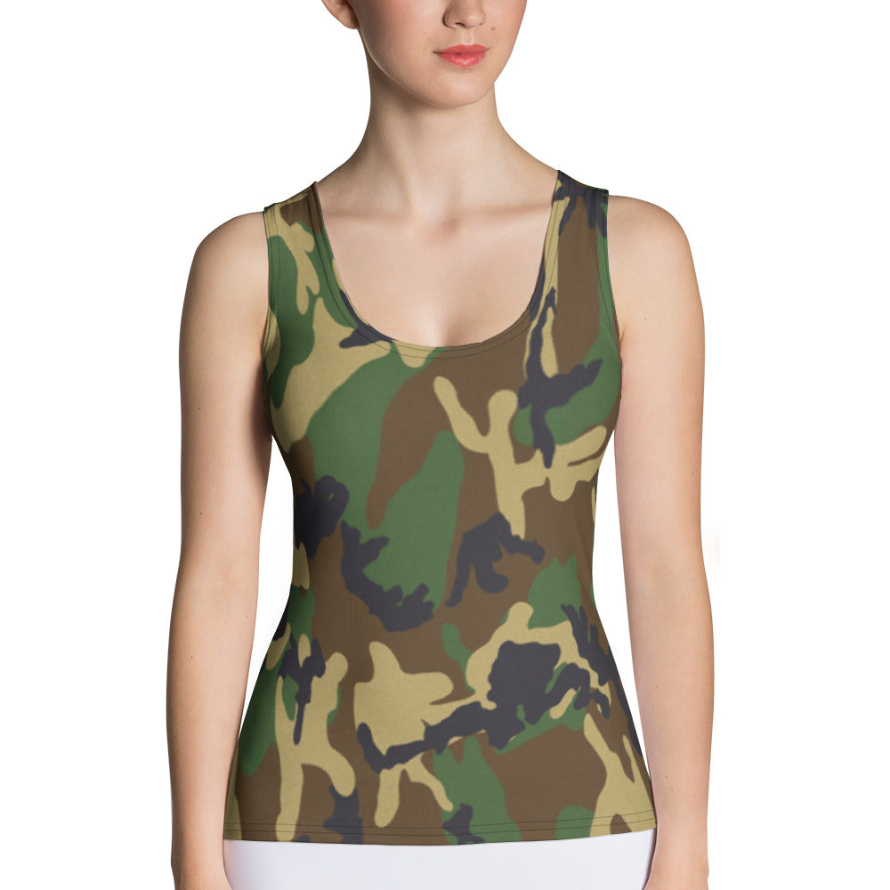 Woodland Camo Tank Top - Cranberry Fashion