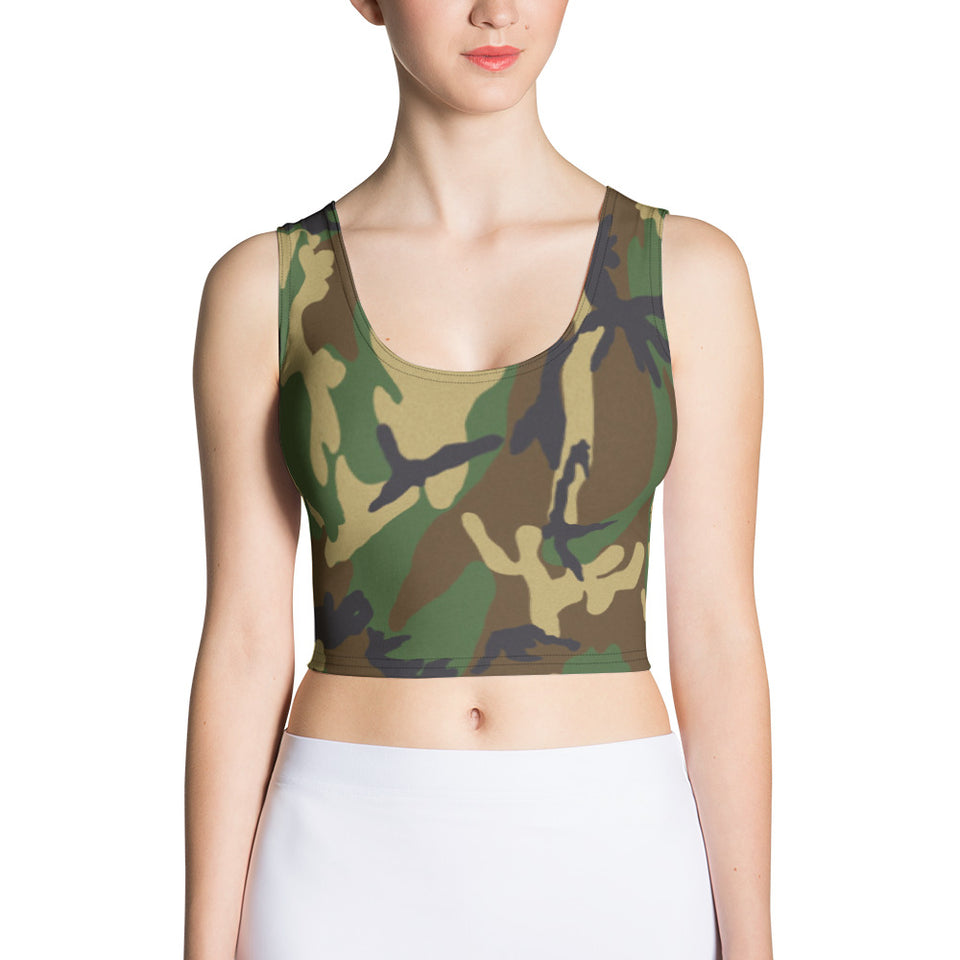 Woodland Camo Crop Top - Cranberry Fashion