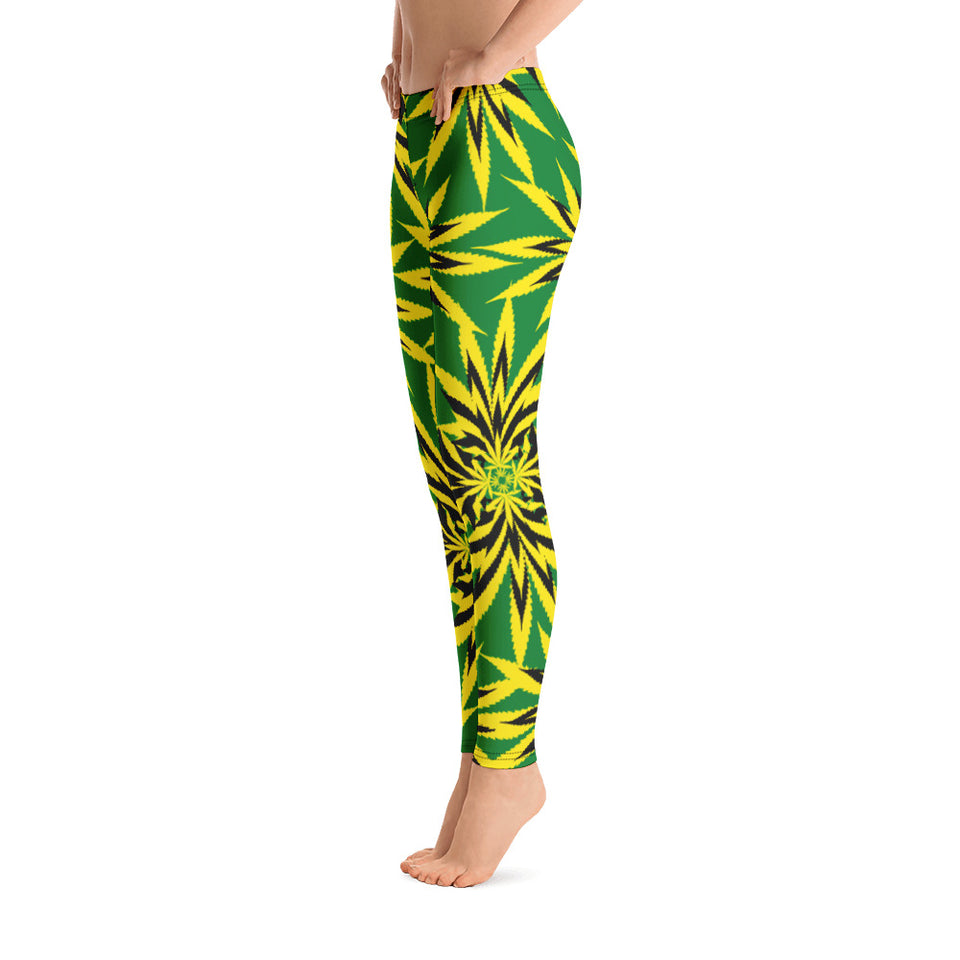 Cannabis Art Leaf Leggings - Cranberry Fashion