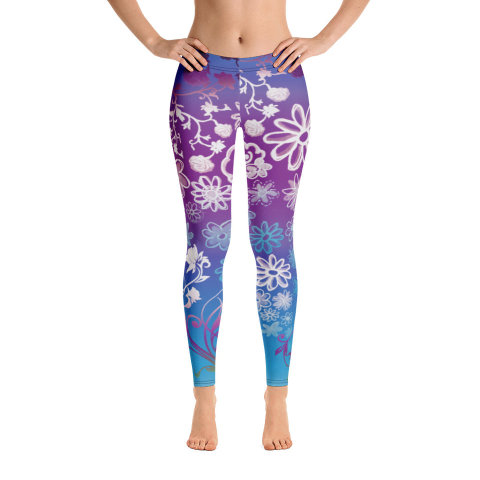 Bohemian Floral Blue Leggings - Cranberry Fashion
