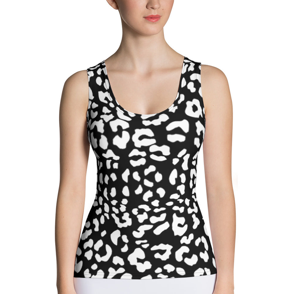 Leopard BW Reverse Tank Top - Cranberry Fashion