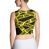 Do not Cross Caution Crop Top - Cranberry Fashion