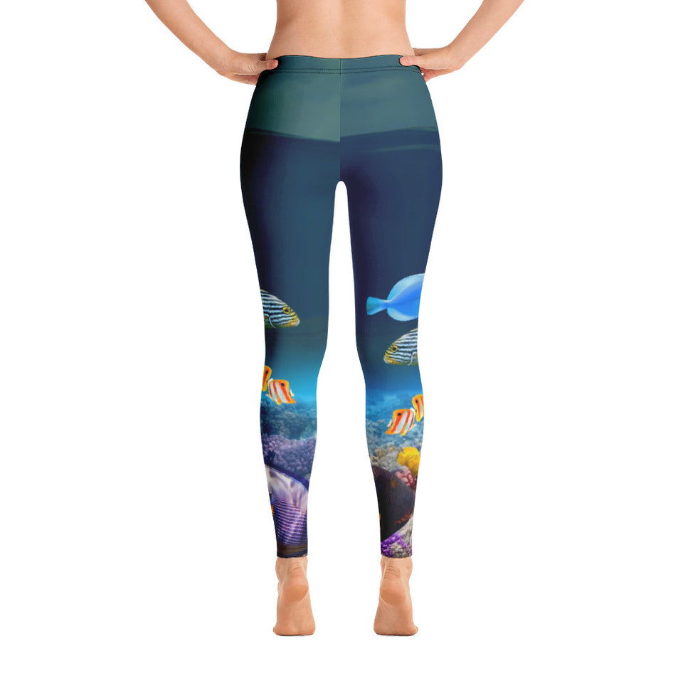 Tropical Sea Creatures Darker Leggings - Cranberry Fashion