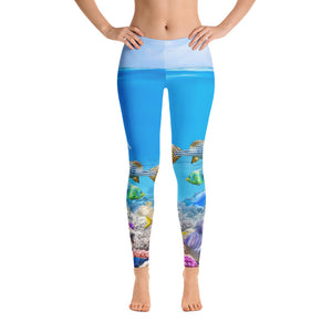 Tropical Sea Creatures Lighter Leggings - Cranberry Fashion