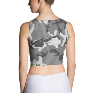 Black and White Camo Crop Top - Cranberry Fashion