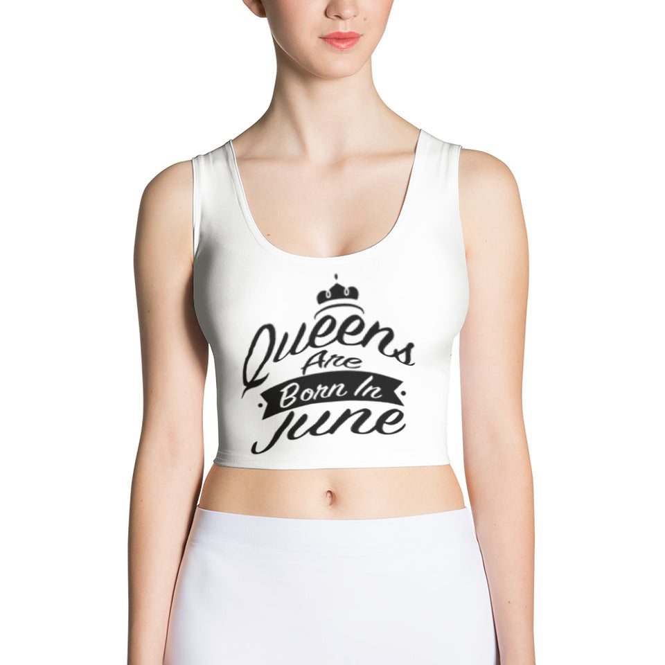 Queens born in June White Crop Top - Cranberry Fashion