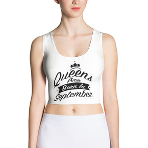 Queens born in September White Crop Top - Cranberry Fashion