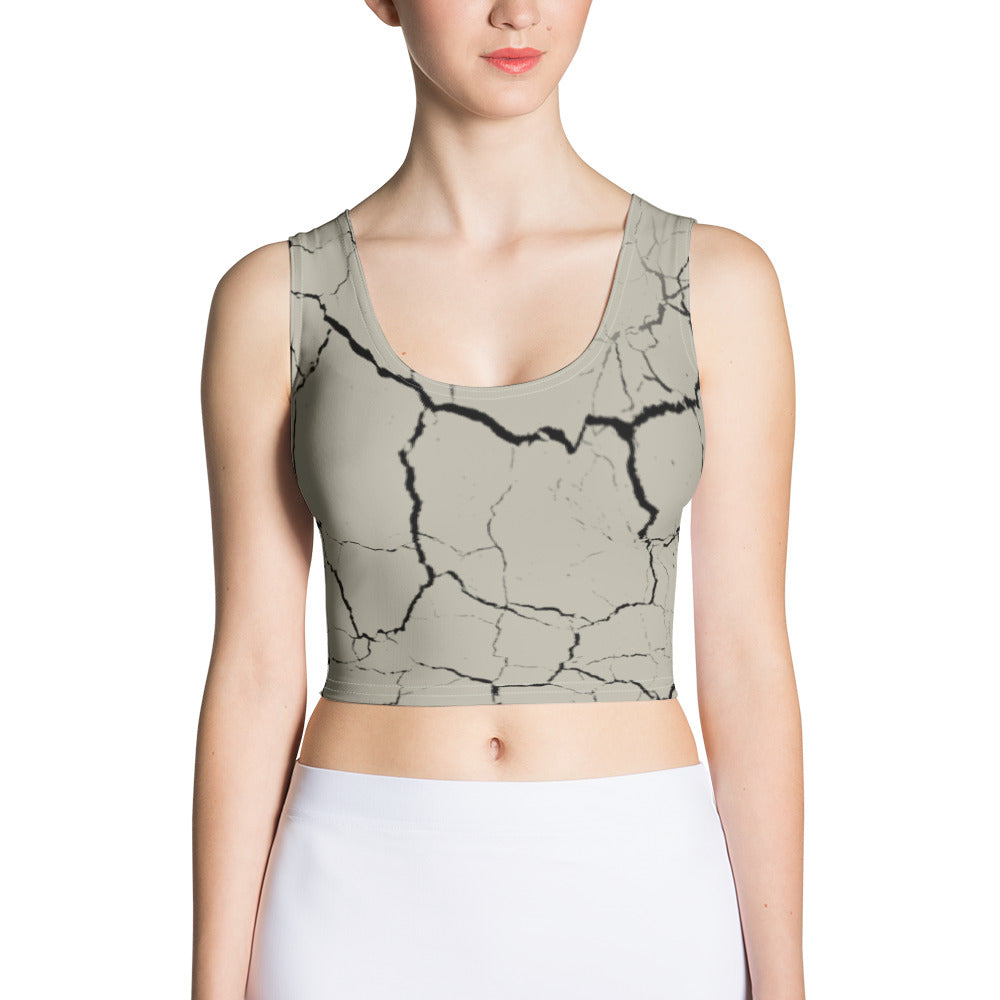 Earth Cracked Crop Top - Cranberry Fashion