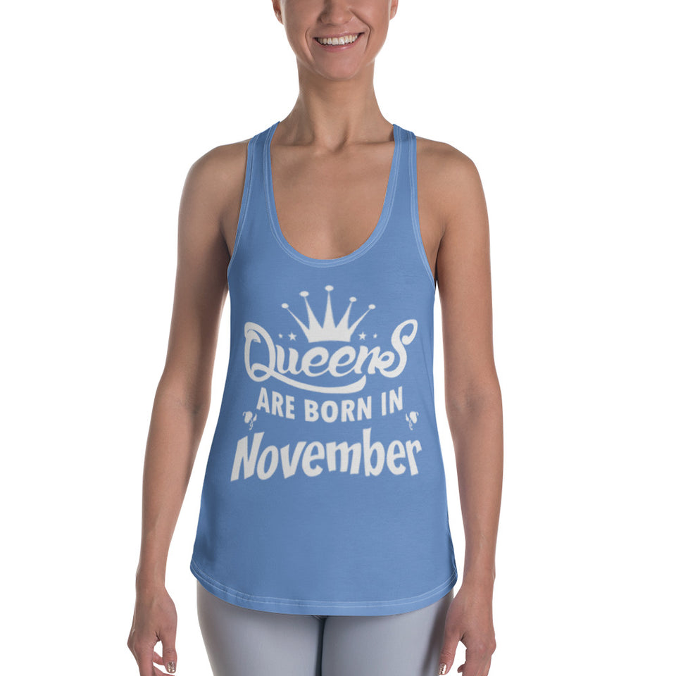 Queens born in November Bluish Racerback Tank Top - Cranberry Fashion