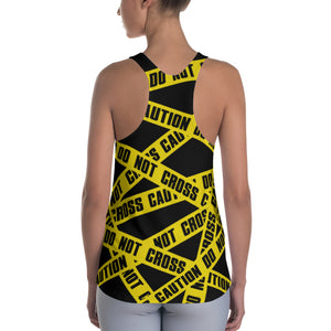 Do Not Cross Caution Racerback Tank - Cranberry Fashion