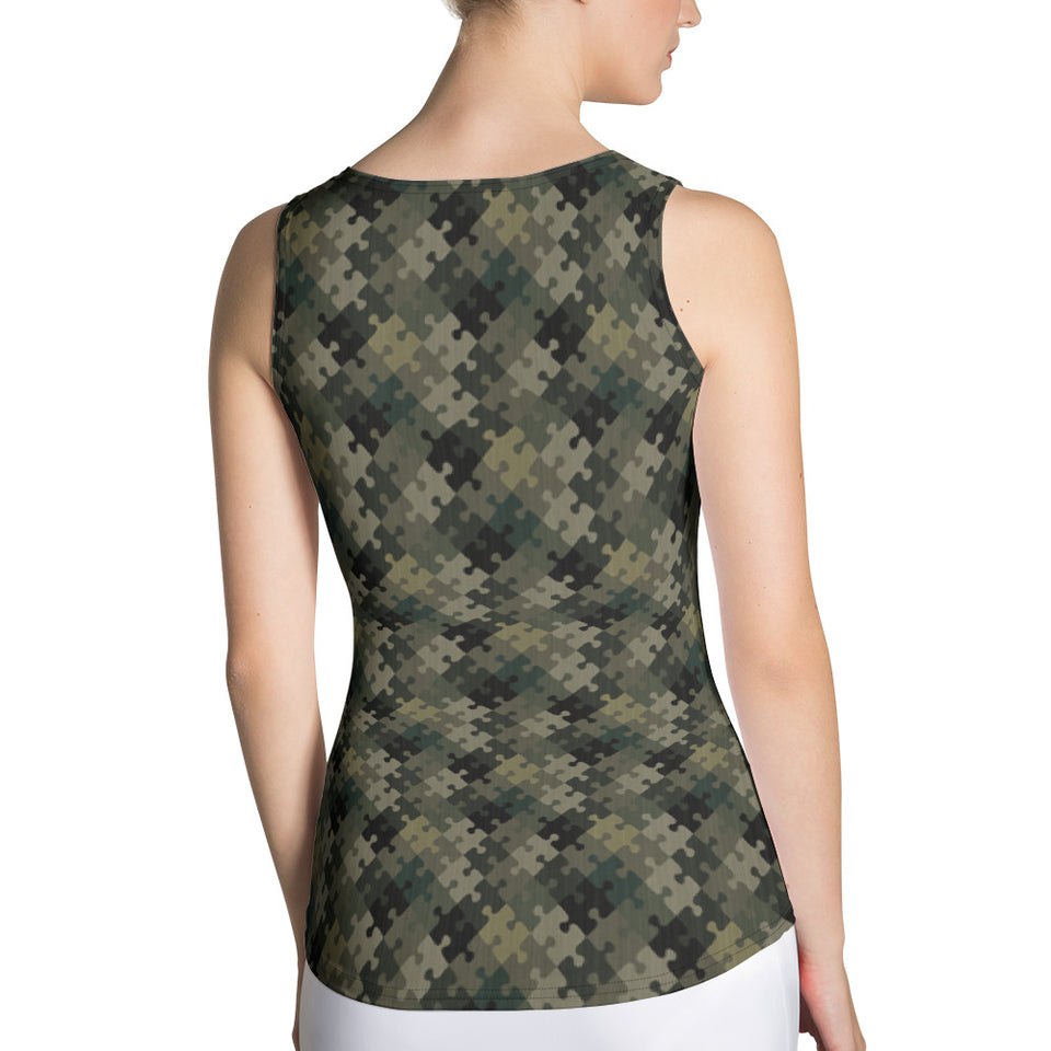 Puzzle Camo Tank Top - Cranberry Fashion