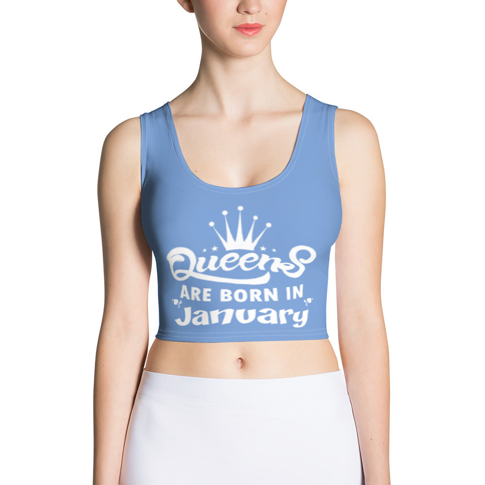 Queens born in January Blue Crop Top - Cranberry Fashion