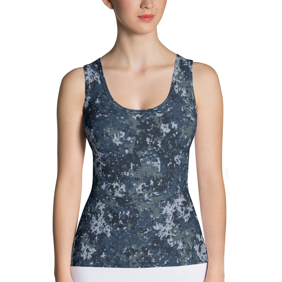 Police Digital Camo Tank Top - Cranberry Fashion