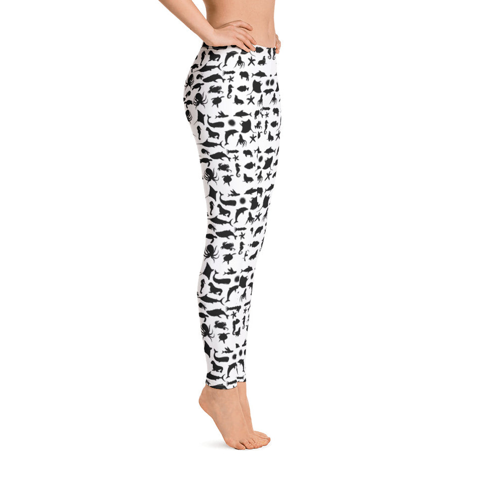 Sea Creatures BW Leggings - Cranberry Fashion