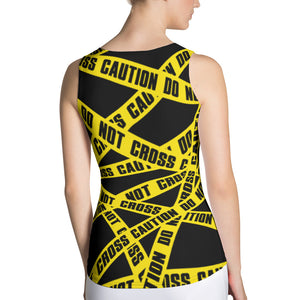 Do Not Cross Caution Tank Top - Cranberry Fashion