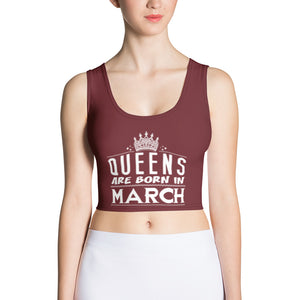 Queens born in March Burgundy Crop Top - Cranberry Fashion
