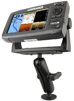 Image of a marine mount holding a Lowrance fishfinder