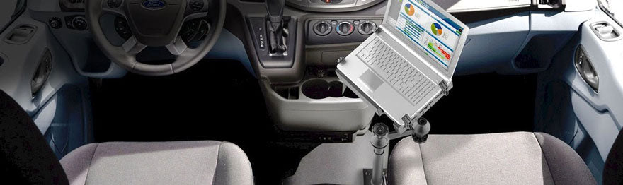 laptop mounted in a car