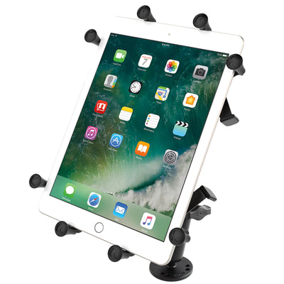 "RAM Flat Surface Mount with LONG Double Socket Arm & Universal RAM® X-Grip® Cradle for 10"" Large Tablets - RAM-B-101-C-UN9U - OC Mounts"