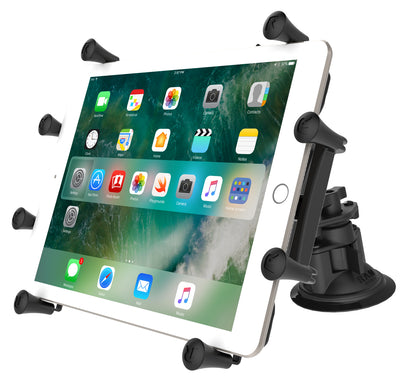 "RAM Dual Articulating Suction Cup with Short Double Socket Arm and Universal RAM® X-Grip® Cradle for 10"" Tablets - RAM-B-189-PIV1-A-UN9U - OC Mounts"