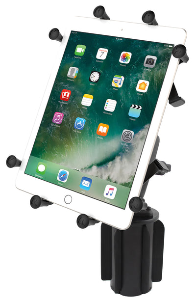 "RAM-A-CAN™ II Universal Cup Holder Mount with Double Socket Arm & Universal RAM® X-Grip® Cradle for 10"" Large Tablets - RAP-299-3-UN9U - OC Mounts"