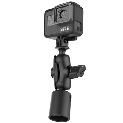 Action Camera Double Ball Mount with PVC Pipe Base Adapter - RAP-B-202-GOP1-A-294U - OC Mounts