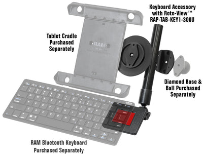 RAM Keyboard Accessory for Tablets with Roto-View™ - RAP-TAB-KEY1-300U - OC Mounts