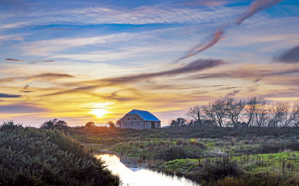 'Medmerry Barn on  Chilly Autumn Evening' Canvas Print