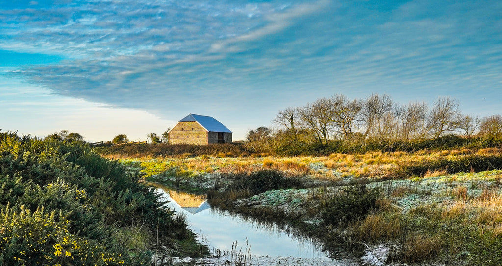 'Medmerry Barn on a Frosty Winter's Morning