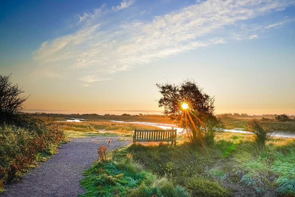 'Misty Autumnal Sunrise at Pagham Harbour' Canvas Print