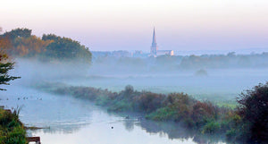 'Chichester Cathedral in the Mists of an Autumnal Dawn' Canvas Print