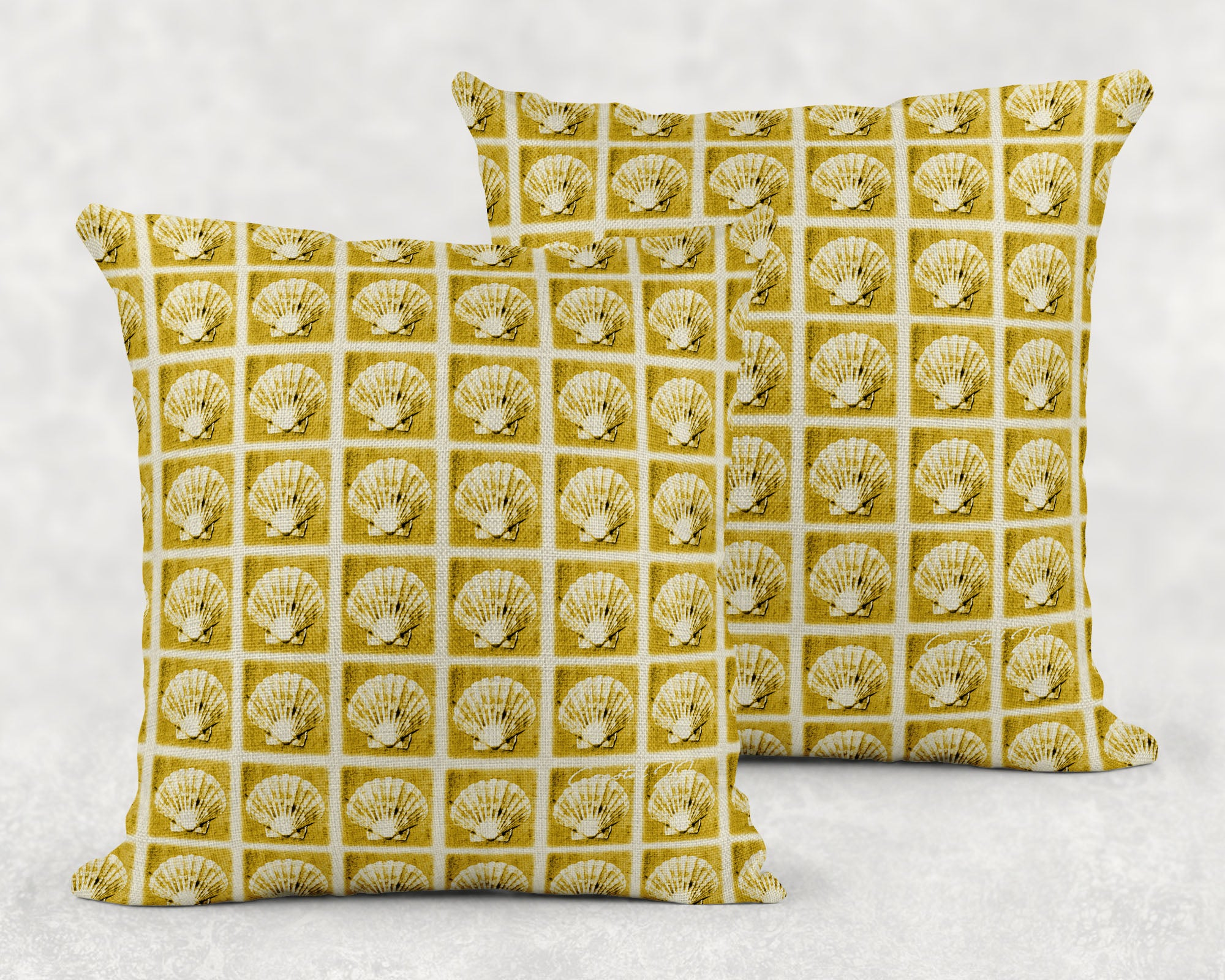 'Selsey Scallops in Miniature' - Large Sofa Cushion