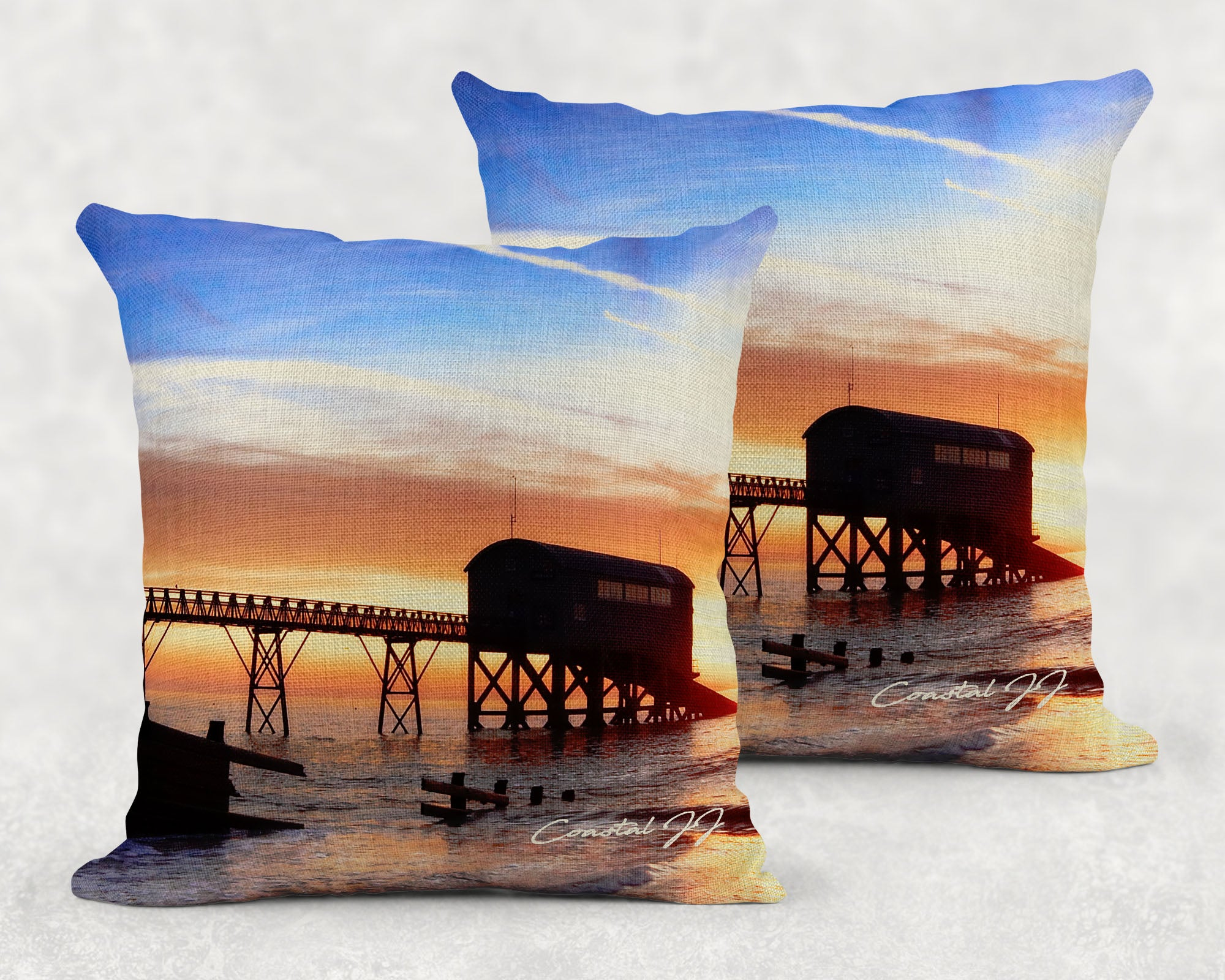 'Winter Sunrise at the Old Lifeboat Station' - Large Sofa Cushion