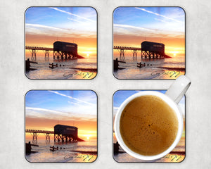 'A Winter's Sunrise at the Old Lifeboat Station' Coasters - Pack of 4