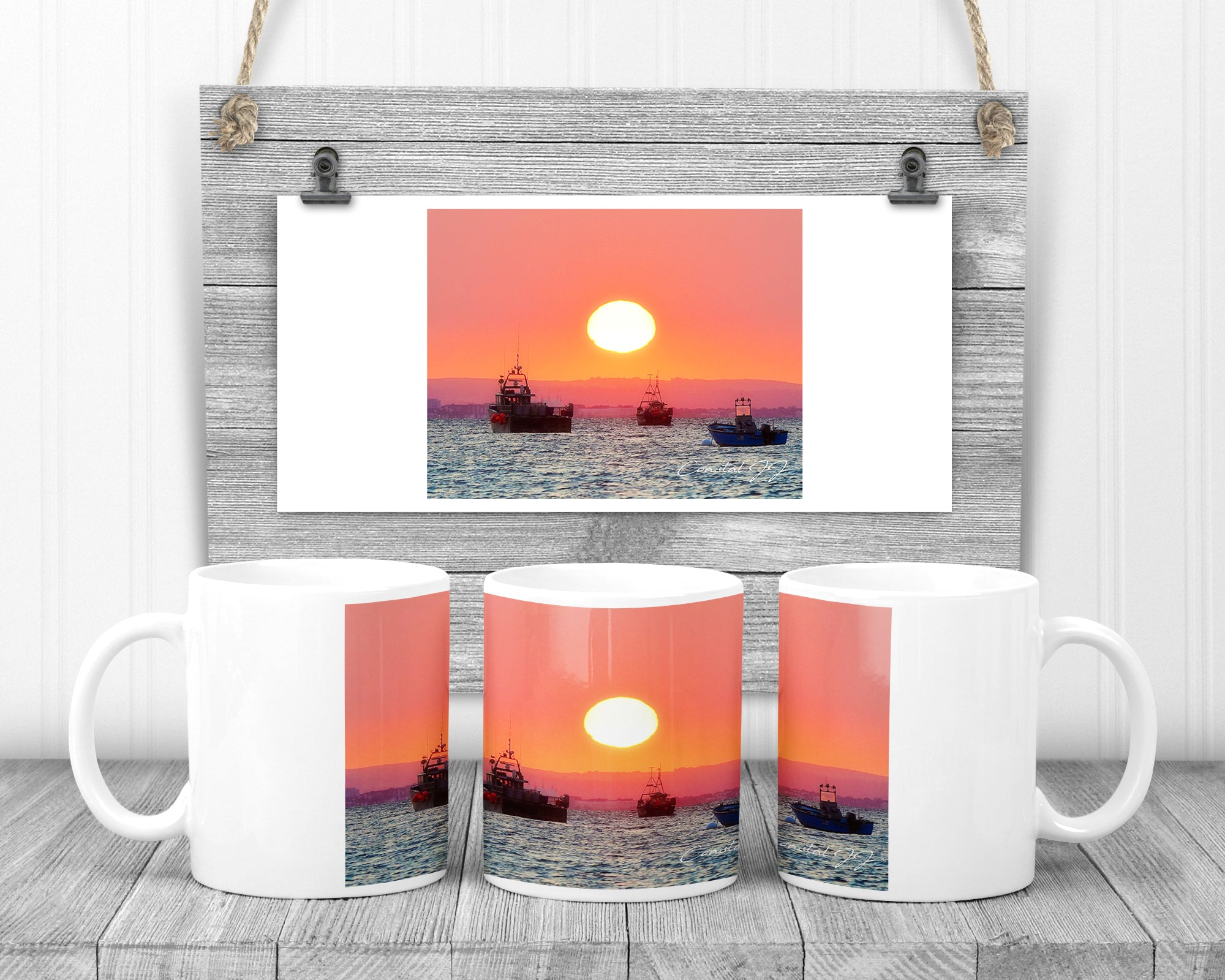 'South Downs Sunrise in Pink' - 11oz Ceramic Mug