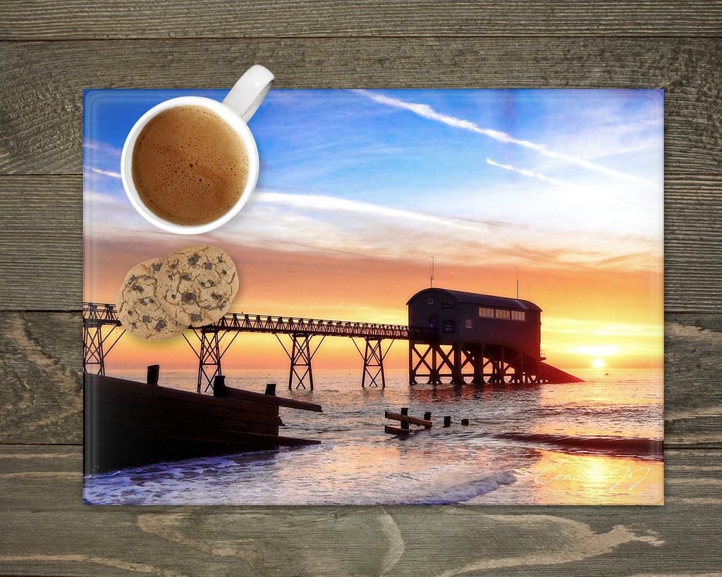 'Winter Sunrise at the Lifeboat Station' - Worktop Saver and Place Mat