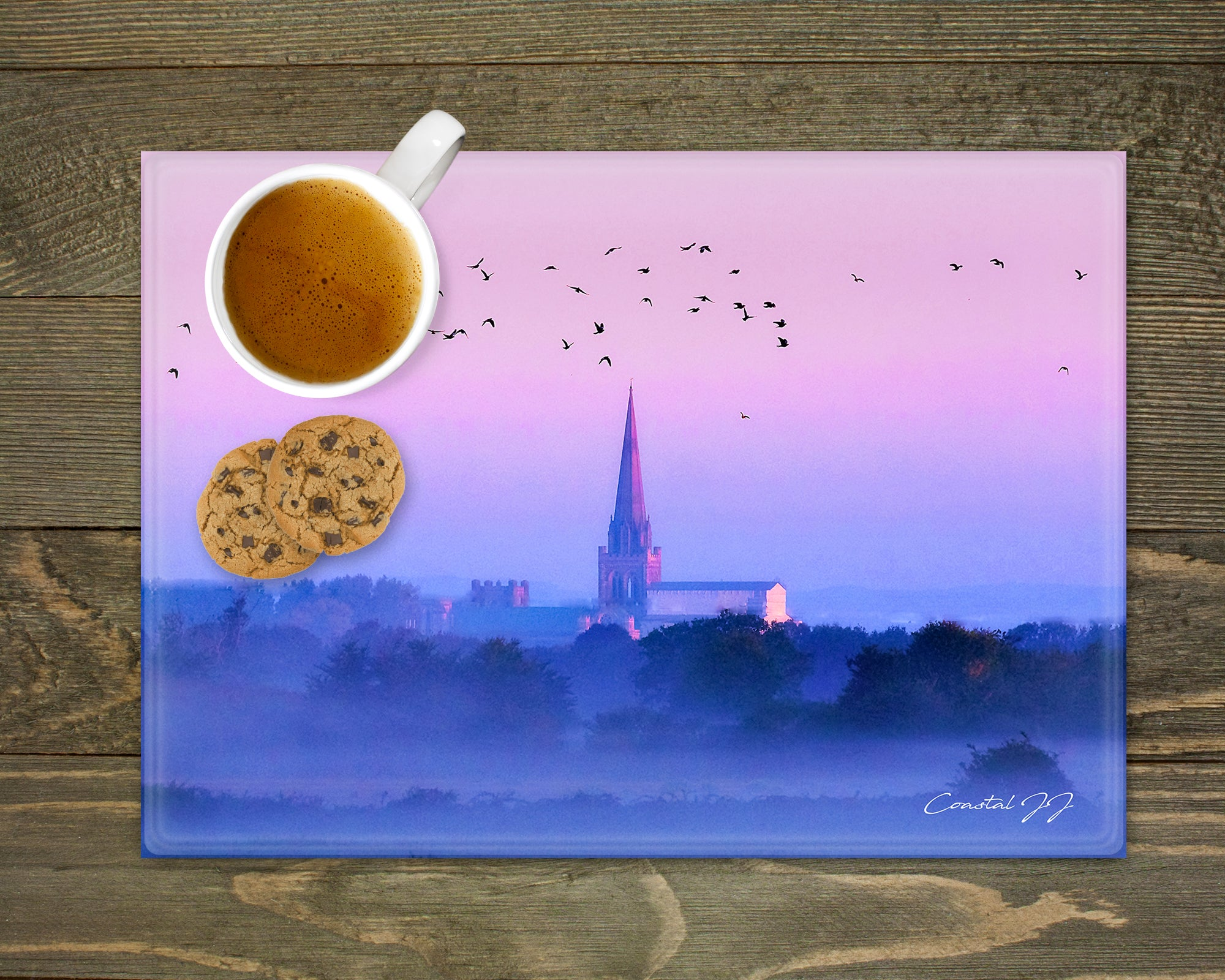 'Chichester Cathedral on a Misty Autumnal Morning' - Worktop Saver