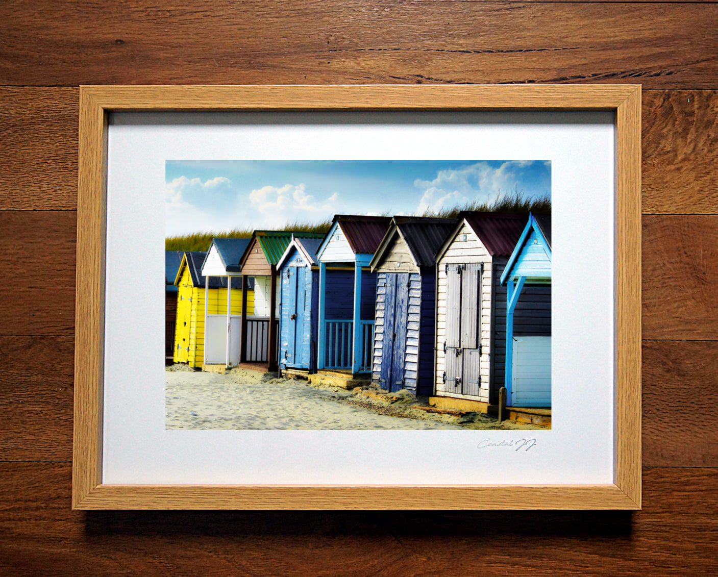 'Beach Huts and Sand Dunes' Framed Print - £40