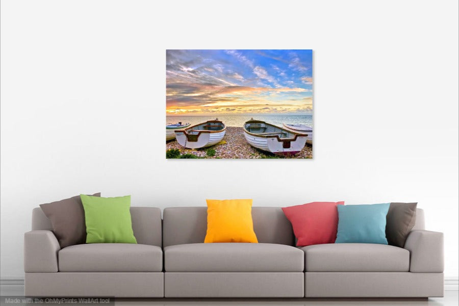 'Just Before Dawn at the Fishing Beach' Canvas Print